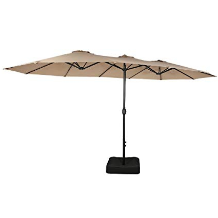 Iyanna Market Umbrellas With Most Recent Iwicker 15 Ft Double Sided Patio Umbrella Outdoor Market Umbrella With  Crank, Umbrella Base Included (Beige) (View 10 of 25)