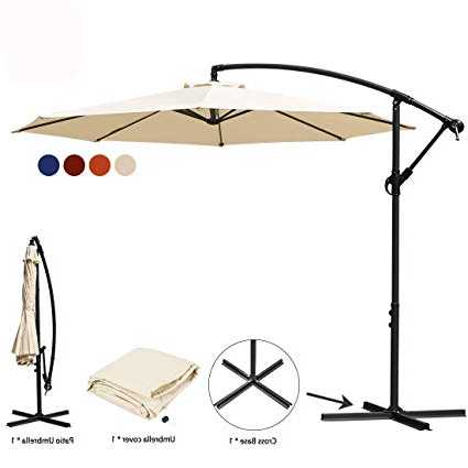 Jearey Patio Umbrella 10 Ft Offset Cantilever Umbrellas Outdoor Market  Hanging Umbrella & Crank With Cross Base, 8 Ribs (Beige) With Regard To Most Recent Cantilever Umbrellas (View 15 of 25)