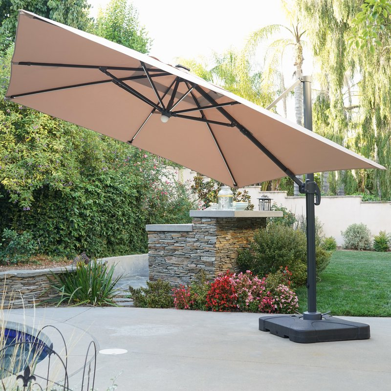 Jendayi Square Cantilever Umbrella For Fashionable Krystal Square Cantilever Sunbrella Umbrellas (Gallery 4 of 25)