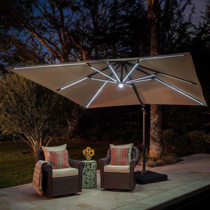 Jendayi Square Cantilever Umbrella Intended For 2018 Windell Square Cantilever Umbrellas (View 22 of 25)