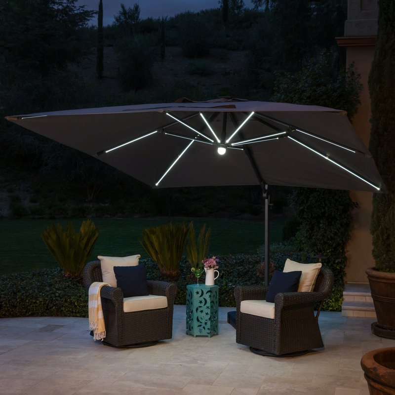 Jendayi Square Cantilever Umbrella With Well Liked Jendayi Square Cantilever Umbrellas (Gallery 5 of 25)