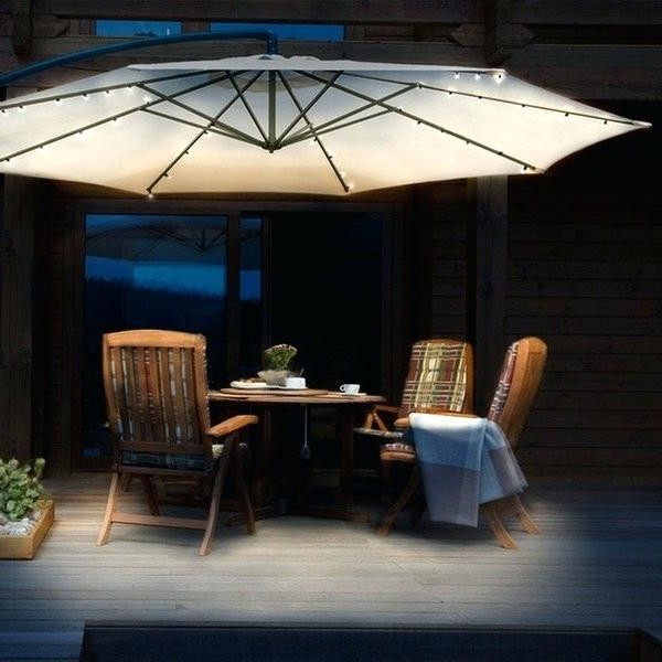 Jendayi Square Cantilever Umbrellas Regarding Well Liked Patio Umbrella With Lights – Myrtisfullington.co (Gallery 19 of 25)