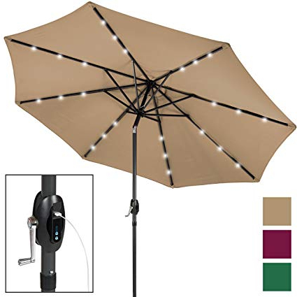 Jericho Market Umbrellas inside Well known Best Choice Products 10-Foot Aluminum Polyester Solar Led Market Patio  Umbrella With Usb Charger And Detachable Portable Power Bank, Tan
