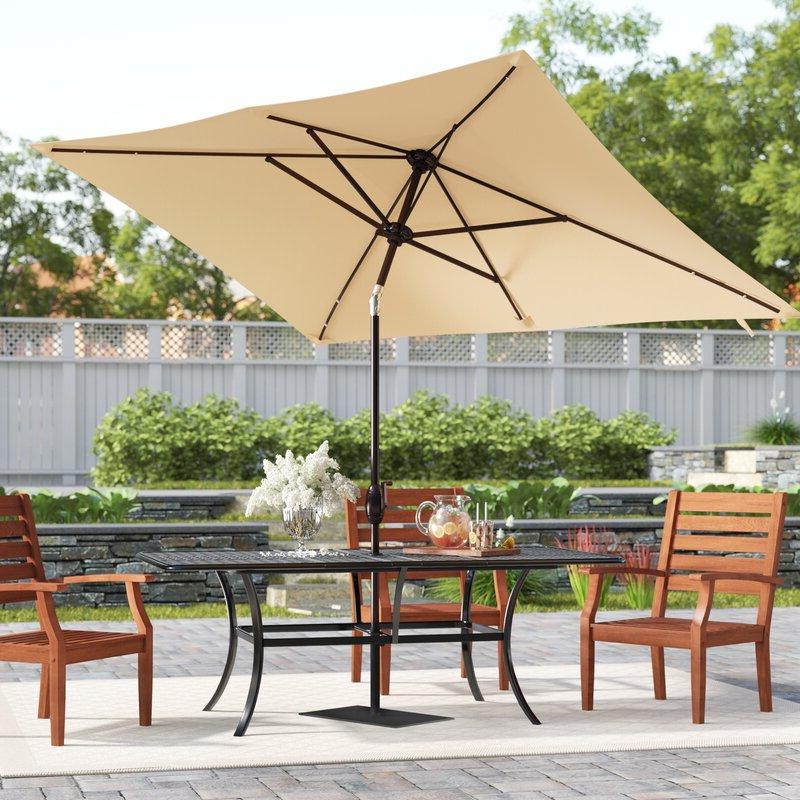 Jerrell 10' X 7' Rectangular Market Umbrella Intended For Best And Newest Cordelia Rectangular Market Umbrellas (Gallery 8 of 25)