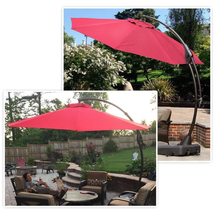 Judah Cantilever Umbrellas Intended For Recent Melendy 10' Cantilever Umbrella (Gallery 2 of 25)