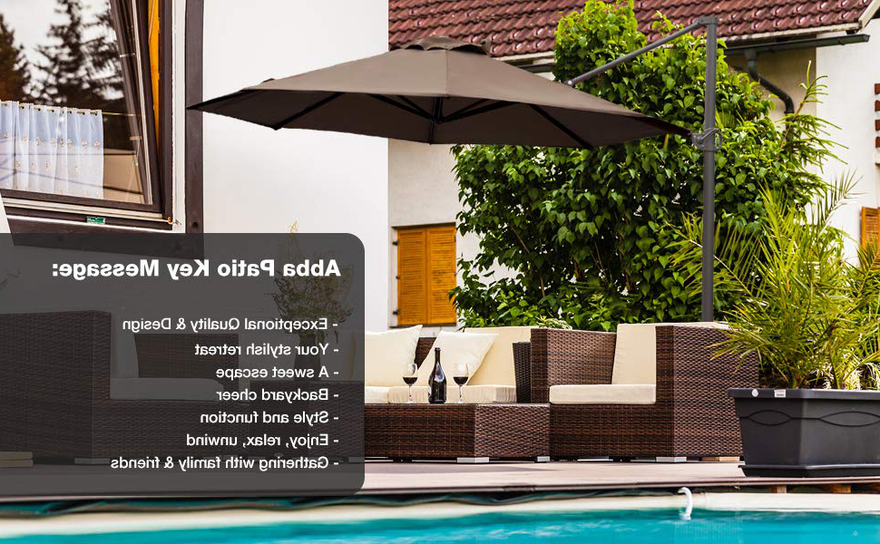Judah Cantilever Umbrellas Within Widely Used Abba Patio 11 Ft Offset Patio Umbrella With Crank Lift And Tilt And Cross  Base, 11', Cocoa (View 10 of 25)