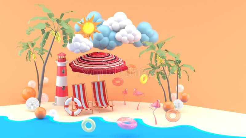 Julian Beach Umbrellas With 2017 Deck Chairs On A Sand Beach Stock Illustration – Illustration Of (View 22 of 25)