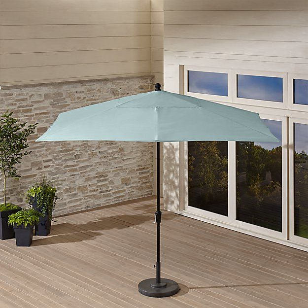 Julian Market Sunbrella Umbrellas Inside Well Liked Rectangular Sunbrella ® Soft Mineral Patio Umbrella With Black Frame (View 12 of 25)