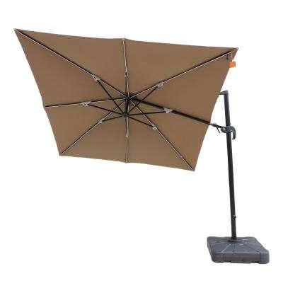 Julian Market Sunbrella Umbrellas with regard to Well-known Santorini Ii Fiesta 10 Ft. Square Cantilever Patio Umbrella In Stone  Sunbrella Acrylic