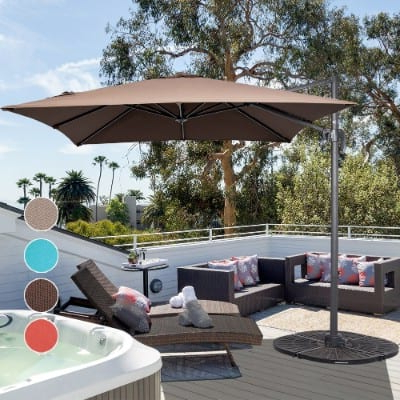 Justis Cantilever Umbrellas in Most Up-to-Date 8 Ft Square Offset Umbrella - Caldwellcountytxoem