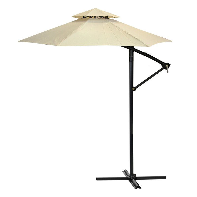 Justis Cantilever Umbrellas inside Fashionable 9.5' Cantilever Umbrella