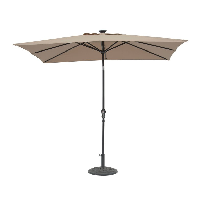 Kamila 9' X 7' Rectangular Lighted Umbrella with Most Current Bonita Rectangular Market Umbrellas