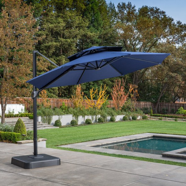 Kedzie Outdoor Cantilever Umbrellas With Best And Newest Digregorio 11' Cantilever Umbrella (View 10 of 25)