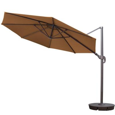 Kedzie Outdoor Cantilever Umbrellas Within Most Up To Date 11 Ft. Cantilever Patio Umbrella In Beige With Crank And 4 Piece (Gallery 15 of 25)