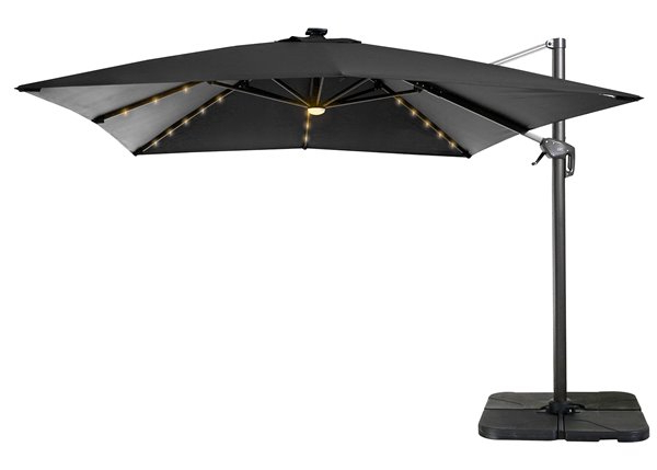 Kedzie Outdoor Cantilever Umbrellas Within Trendy Henryka – Cantilever Umbrella With Led Lights – 10' – Black A002N (View 15 of 25)