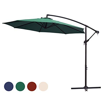 Kingyes 10Ft Patio Offset Cantilever Umbrella Market Umbrellas Outdoor Umbrella With Crank & Cross Base For Garden, Deck,backyard And Pool(Dark Green) inside Famous Booneville Cantilever Umbrellas