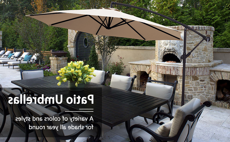 Kizzie Market Cantilever Umbrellas With 2018 Kingyes 10Ft Patio Offset Cantilever Umbrella Market Umbrellas Outdoor  Umbrella With Crank & Cross Base For Garden, Deck,backyard And Pool(Dark  Green) (Gallery 9 of 25)