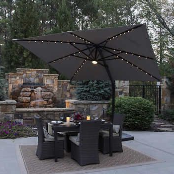 Krystal Square Cantilever Sunbrella Umbrellas For Well Liked 10' Led Solar Square Offset Umbrellaseasons Sentry – Love This (View 18 of 25)