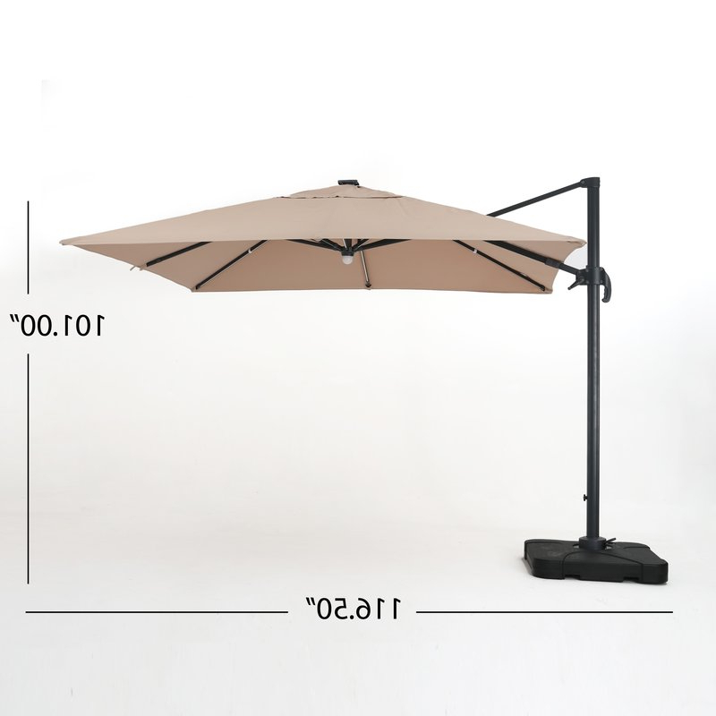 Krystal Square Cantilever Sunbrella Umbrellas Throughout Well Known Jendayi Square Cantilever Umbrella (Gallery 3 of 25)