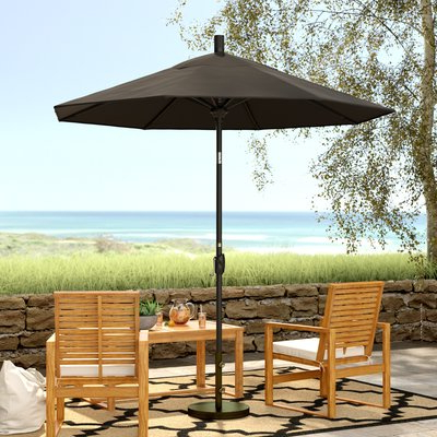 "Lagasse Market Umbrellas Intended For Trendy Beachcrest Home 7' 11"" Market Umbrella Color: Matted Black, Fabric (View 23 of 25)"