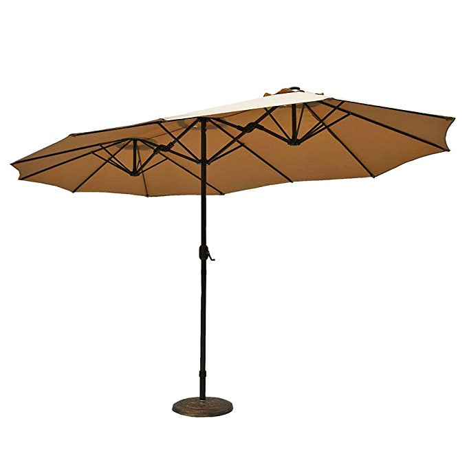 Lagasse Market Umbrellas Regarding Newest Le Papillon 15 Ft Market Outdoor Umbrella Double Sided Aluminum Table Patio Umbrella With Crank, Beige (View 6 of 25)