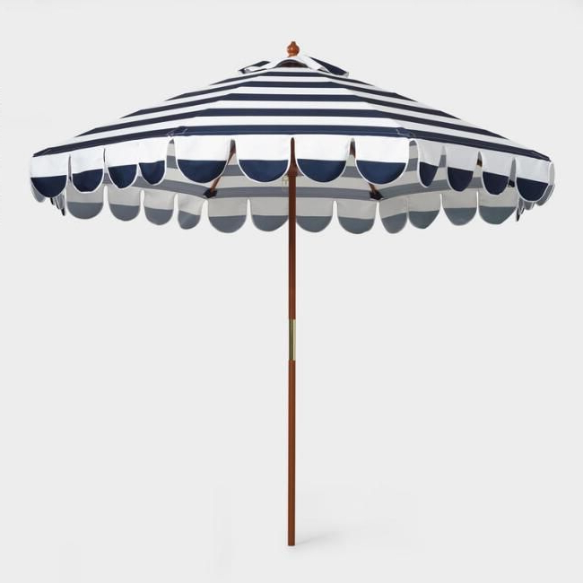 Lambeth Market Umbrellas Throughout Most Current Peacoat Blue Awning Stripe Scalloped 9' Umbrella Canopy – V (View 10 of 25)