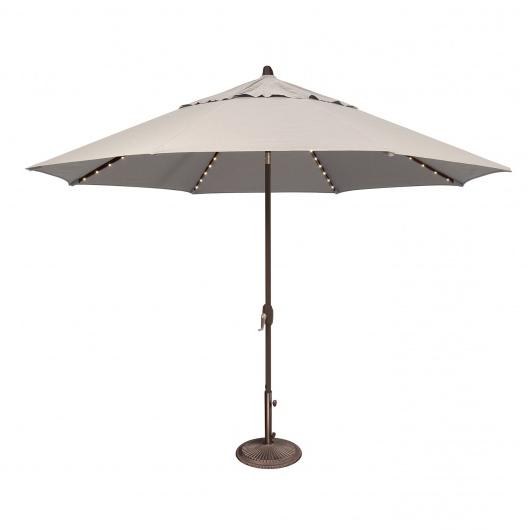 Lanai Pro 11' Octagon Sunbrella Market Umbrella With Star Lights In Favorite Wiebe Auto Tilt Square Market Sunbrella Umbrellas (View 11 of 25)