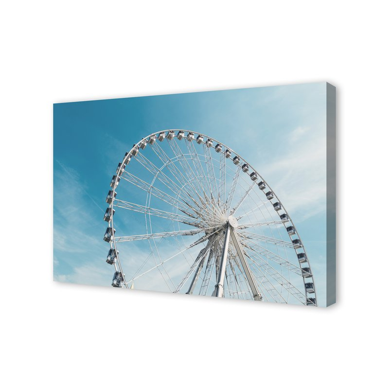 Latest Bonview Rectangular Market Umbrellas In 'ferris Wheel On Cloudy Blue Day' Photographic Print On Canvas (View 19 of 25)