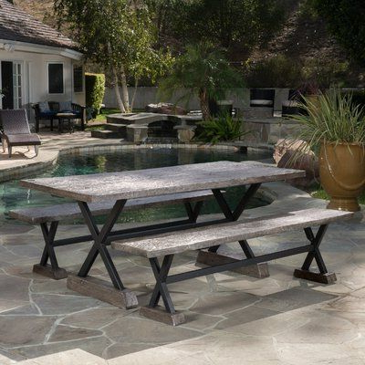 Latest Desmond  Rectangular Cantilever Umbrellas With Regard To Foundry Select Amin Outdoor Magnesium Oxide Picnic Bench Color: Gray (View 14 of 25)