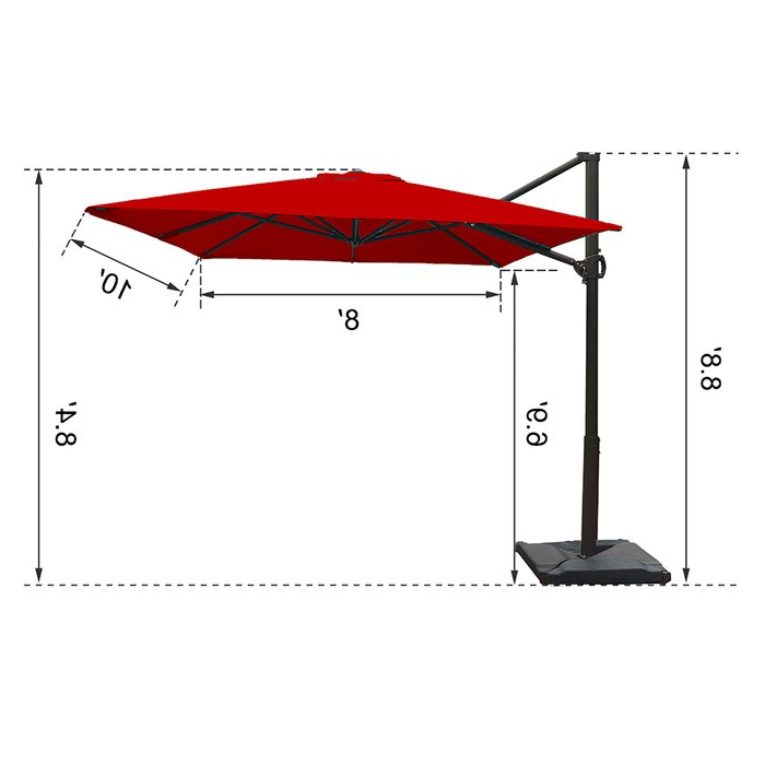Latest Fordwich 8' X 10' Rectangular Cantilever Umbrella For Fordwich  Rectangular Cantilever Umbrellas (View 11 of 25)