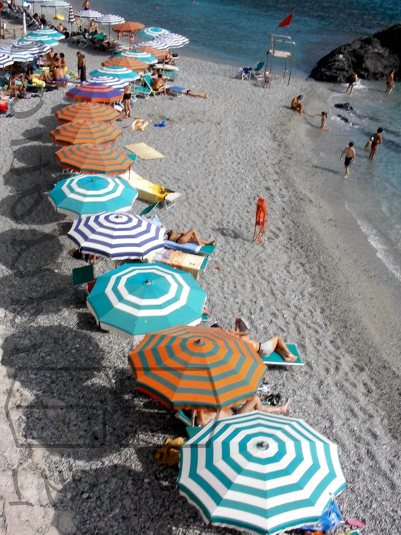Latest Italian Beach Umbrellas Pertaining To Italian Beach Umbrellas Cinque Terre Italy Print Orange Blue Photograph  Colorful Picture Wallart Spiaggia Ombrello Turquoise Acqua Turchese (View 5 of 25)