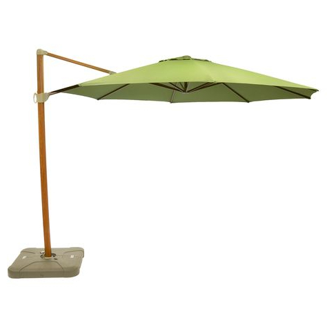 Latest Kedzie Outdoor Cantilever Umbrellas Pertaining To 11' Offset Sunbrella Umbrella – Spectrum Cilantro – Medium Wood (View 23 of 25)