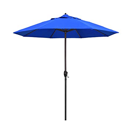 Latest Market Umbrellas Inside California Umbrella 9' Round Aluminum Market Umbrella, Crank Lift, Auto Tilt, Bronze Pole, Royal Blue Olefin (View 7 of 25)
