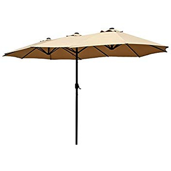 Le Papillon 15 Ft Market Outdoor Umbrella Double Sided Aluminum Table Patio  Umbrella With Crank, Beige Throughout Most Recently Released Lagasse Market Umbrellas (View 15 of 25)