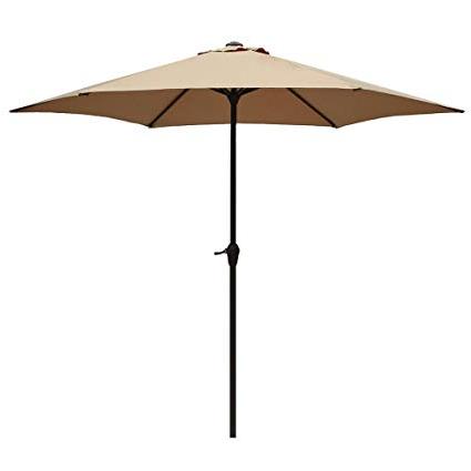Le Papillon 9 Ft Outdoor Patio Umbrella Aluminum Table Market Umbrella 6 Ribs Crank Lift Push Button Tilt In Newest Stacy Market Umbrellas (View 7 of 25)
