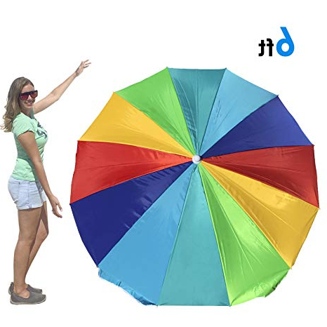 Leasure Fiberglass Portable Beach Umbrellas Regarding Well Liked Easygo Rainbow Beach Umbrella – Portable Wind Beach Umbrella – Folding  Beach Umbrella Set With Screw Anchor And Carrying Bag (View 5 of 25)