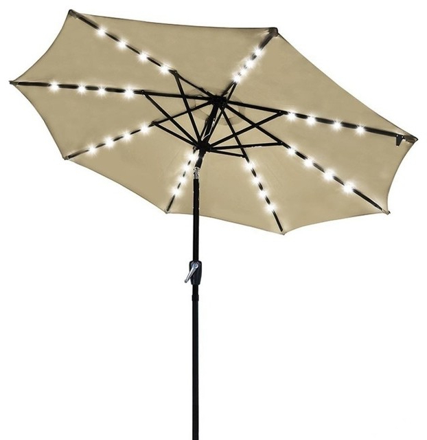 Lora Market Umbrellas In Current Outdoor Patio 32 Led 8 Ribs Solar Powered Aluminium Umbrella Crank Tilt,  Beige (View 4 of 25)