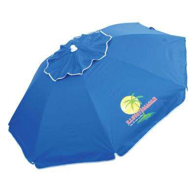 Margaritaville Green And Blue Striped Beach With Built In Sand Anchor Umbrellas Regarding Well Known Manual Tilt – Beach Umbrellas – Patio Umbrellas – The Home Depot (View 13 of 25)