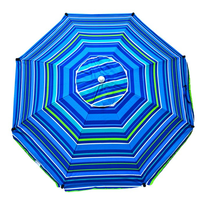 Margaritaville Green And Blue Striped Beach With Built In Sand Anchor Umbrellas Regarding Well Known Schroeder Heavy Duty 8' Beach Umbrella (View 12 of 25)