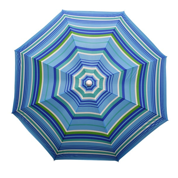 Margaritaville Green And Blue Striped Beach With Built In Sand Anchor Umbrellas Throughout Well Known Astella 6' Round Beach Umbrella (View 14 of 25)