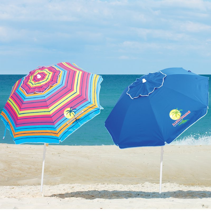 Margaritaville Green And Blue Striped Beach With Built In Sand Anchor Umbrellas With Regard To Recent  (View 15 of 25)