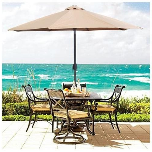 Market Umbrellas Pertaining To Newest Patio Umbrella 9' Aluminum Patio Market Umbrella Tilt W/ Crank Outdoor Tan (View 21 of 25)