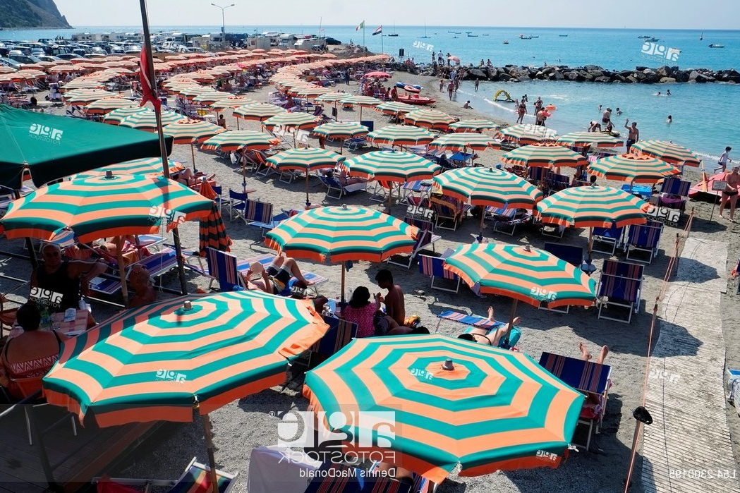 Monterosso Beach Umbrellas Cinque Terre Italy Italian Riviera In Fashionable Italian Beach Umbrellas (View 6 of 25)