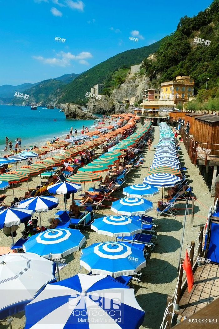 Monterosso Beach Umbrellas Cinque Terre Italy Italian Riviera Inside Newest Italian Beach Umbrellas (View 21 of 25)