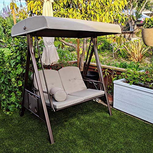Most Current Abba Patio 2 Person Adjustable Canopy Porch Swing With 2 Cushions And Side  Tables, Brown Inside Darwen Tiltable Patio Stripe Market Umbrellas (View 13 of 25)
