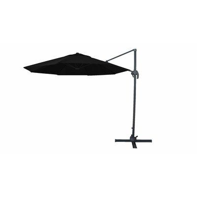 Most Current Bay Isle Home Solarte 11' Cantilever Umbrella Fabric Color: Black In For Jaelynn Cantilever Umbrellas (View 13 of 25)