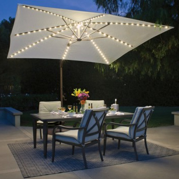 Most Current Cantilever Umbrellas For Bali Pro 10' Square Rotating Cantilever Umbrella With Lights (View 16 of 25)