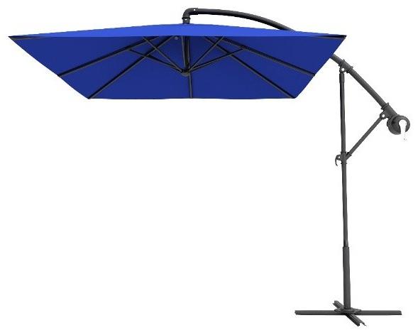 Most Current Cora Square Cantilever Umbrellas For Dark Blue Square Offset Cantilever Umbrellas, 10' (View 12 of 25)