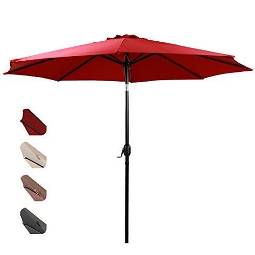 Most Current Dade City North Half Market Umbrellas With Regard To Easeland Patio Umbrella 9 Feet Outdoor Table Market Umbrella Push (View 21 of 25)