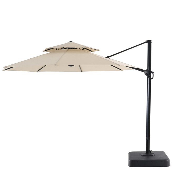 Most Current Elaina Cantilever Umbrellas With Garden Treasures – Offset Patio Umbrella – Tiltable – 11' – Natural (View 18 of 25)